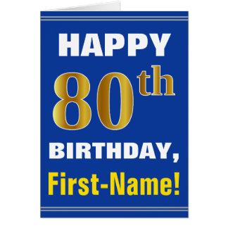 Cartão Corajoso, azul, aniversário do 80 do ouro do falso