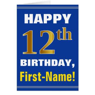 Cartão Corajoso, azul, aniversário do ouro do falso 12o