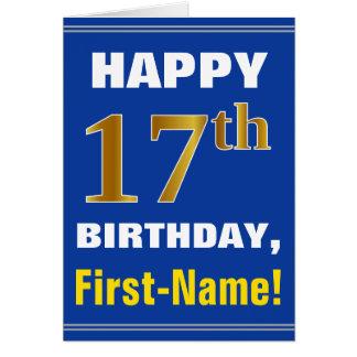Cartão Corajoso, azul, aniversário do ouro do falso 17o