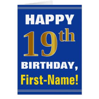 Cartão Corajoso, azul, aniversário do ouro do falso 19o