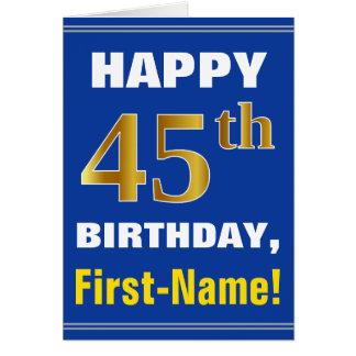 Cartão Corajoso, azul, aniversário do ouro do falso 45th