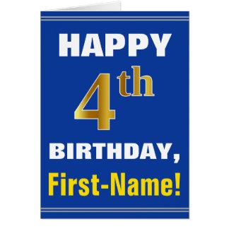 Cartão Corajoso, azul, aniversário do ouro do falso 4o