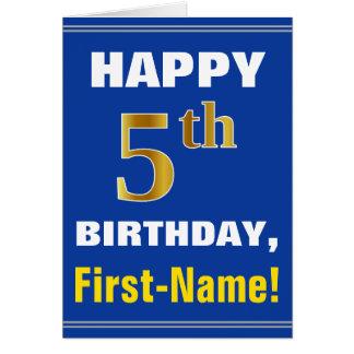 Cartão Corajoso, azul, aniversário do ouro do falso 5o