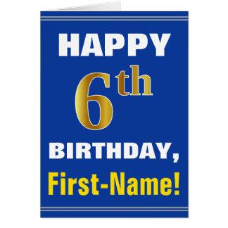Cartão Corajoso, azul, aniversário do ouro do falso 6o