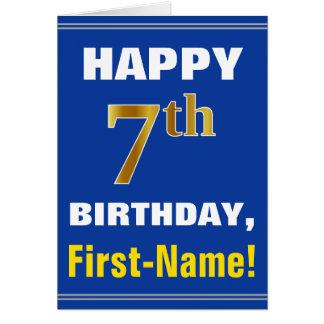 Cartão Corajoso, azul, aniversário do ouro do falso 7o