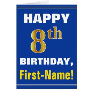 Cartão Corajoso, azul, aniversário do ouro do falso 8o