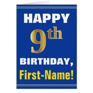 Cartão Corajoso, azul, aniversário do ouro do falso 9o