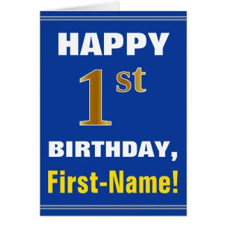 Cartão Corajoso, azul, primeiro aniversario do ouro do
