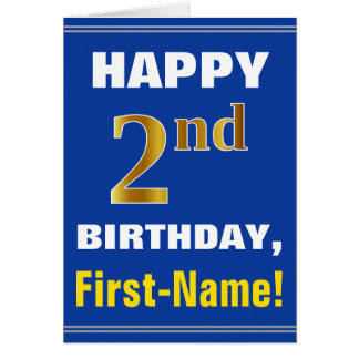 Cartão Corajoso, azul, segundo aniversário do ouro do
