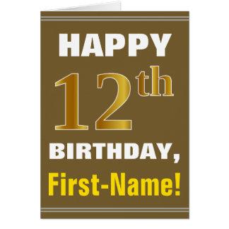 Cartão Corajoso, Brown, aniversário do ouro do falso 12o