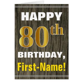 Cartão Corajoso, madeira do falso, aniversário do 80 do