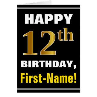 Cartão Corajoso, preto, aniversário do ouro do falso 12o