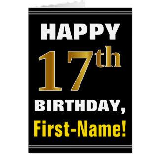 Cartão Corajoso, preto, aniversário do ouro do falso 17o