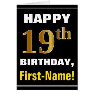 Cartão Corajoso, preto, aniversário do ouro do falso 19o