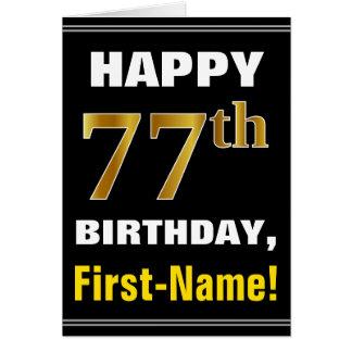 Cartão Corajoso, preto, aniversário do ouro do falso 77th