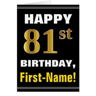 Cartão Corajoso, preto, aniversário do ouro do falso 81st