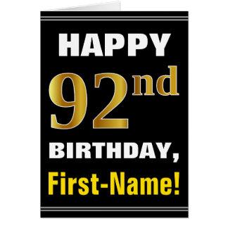 Cartão Corajoso, preto, aniversário do ouro do falso 92nd