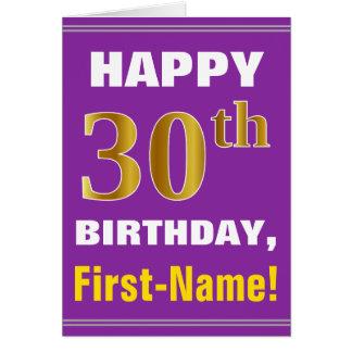 Cartão Corajoso, roxo, aniversário de 30 anos do ouro do