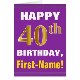 Cartão Corajoso, roxo, aniversário de 40 anos do ouro do