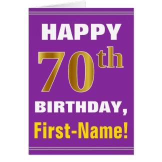 Cartão Corajoso, roxo, aniversário do 70 do ouro do falso