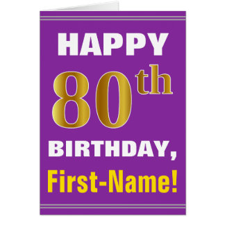Cartão Corajoso, roxo, aniversário do 80 do ouro do falso