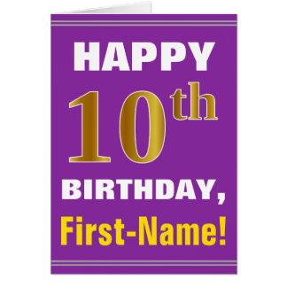 Cartão Corajoso, roxo, aniversário do ouro do falso 10o