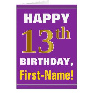 Cartão Corajoso, roxo, aniversário do ouro do falso 13o