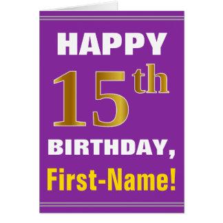 Cartão Corajoso, roxo, aniversário do ouro do falso 15o