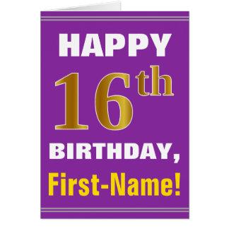 Cartão Corajoso, roxo, aniversário do ouro do falso 16o