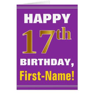 Cartão Corajoso, roxo, aniversário do ouro do falso 17o