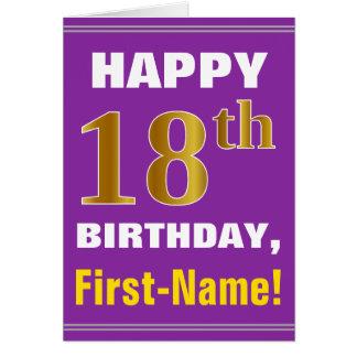 Cartão Corajoso, roxo, aniversário do ouro do falso 18o