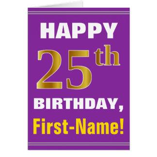 Cartão Corajoso, roxo, aniversário do ouro do falso 25o
