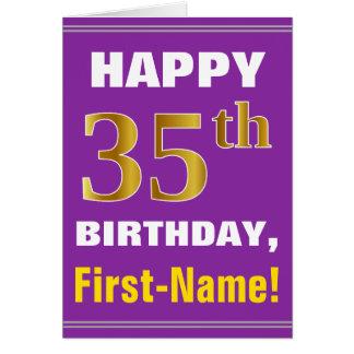 Cartão Corajoso, roxo, aniversário do ouro do falso 35o