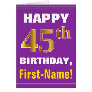 Cartão Corajoso, roxo, aniversário do ouro do falso 45th