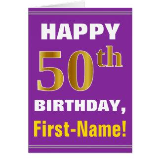 Cartão Corajoso, roxo, aniversário do ouro do falso 50th