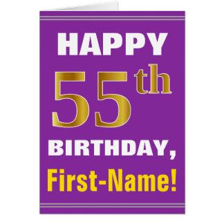 Cartão Corajoso, roxo, aniversário do ouro do falso 55th