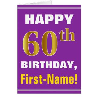 Cartão Corajoso, roxo, aniversário do ouro do falso 60th