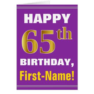 Cartão Corajoso, roxo, aniversário do ouro do falso 65th