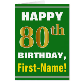 Cartão Corajoso, verde, aniversário do 80 do ouro do