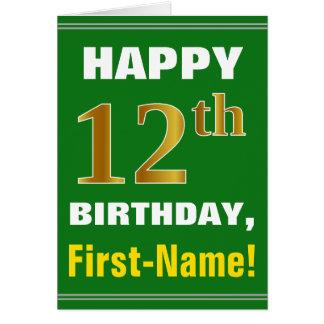 Cartão Corajoso, verde, aniversário do ouro do falso 12o