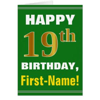 Cartão Corajoso, verde, aniversário do ouro do falso 19o