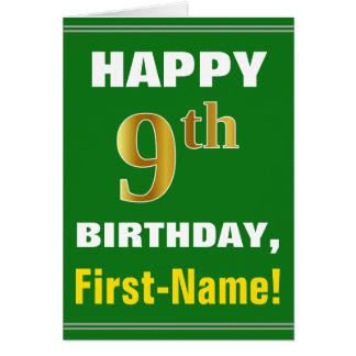 Cartão Corajoso, verde, aniversário do ouro do falso 9o