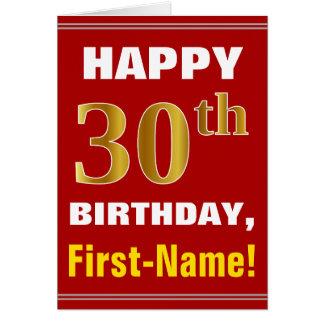 Cartão Corajoso, vermelho, aniversário de 30 anos do ouro