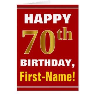 Cartão Corajoso, vermelho, aniversário do 70 do ouro do