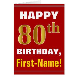 Cartão Corajoso, vermelho, aniversário do 80 do ouro do