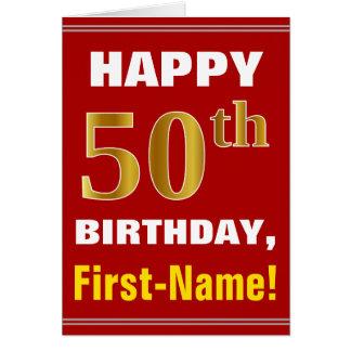 Cartão Corajoso, vermelho, aniversário do ouro do falso