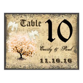 Cartão coral escuro do número da mesa da árvore da