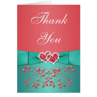 Cartão Coral, obrigado floral dos corações da cerceta