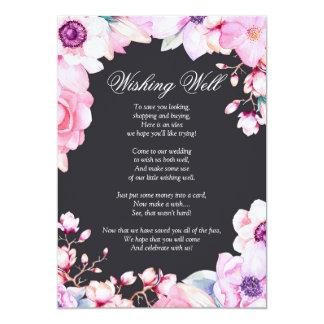 Cartão Coram as flores cor-de-rosa no preto que deseja