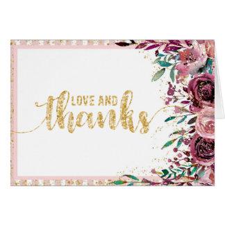 Cartão Coram as listras das flores & o obrigado do